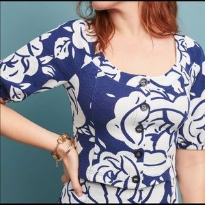 Maeve Amiens navy and white floral top. Size M